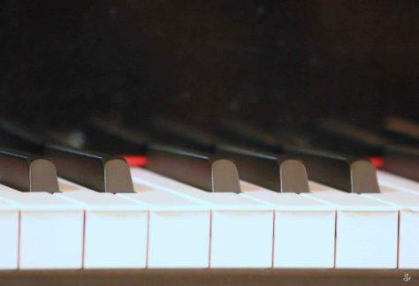 touches piano